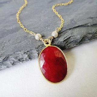 J14k Gold Vermeil Oval-cut Ruby Birthstone Pendant Necklace
