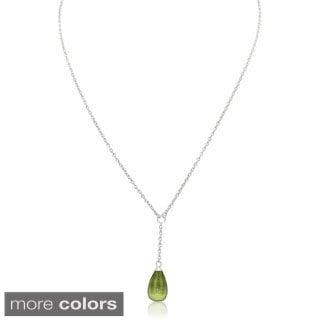 Gioelli Sterling Silver Italian Designer Quartz Pendant Chain Necklace