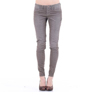 Stitch's Women's Grey Thin Cords Ankle Jeans