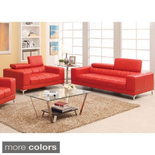Furniture of America Eona 2-Piece Bonded Leather Sofa and Loveseat Set