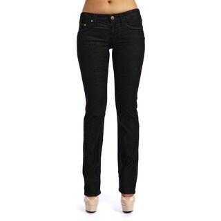 Stitch's Women's Black Mirco Corduroy Straight Leg Jeans