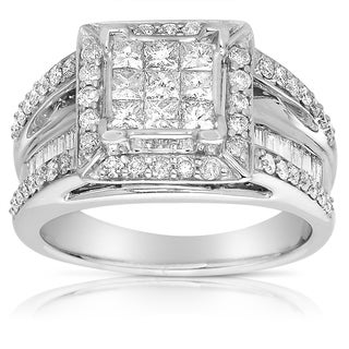 14k White Gold 1 2/5ct TDW Pave Diamond Ring (G-H, I2-I3)