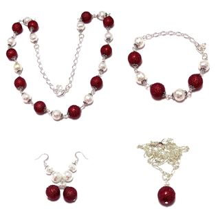 Red MoonScape Textured Crystal Pearl and White Pearlized Crystal 4-piece Jewelry Set