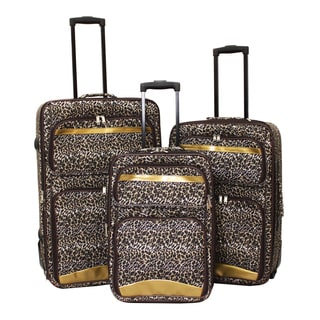 World Sport Leopard 3-piece Expandable Upright Luggage Set