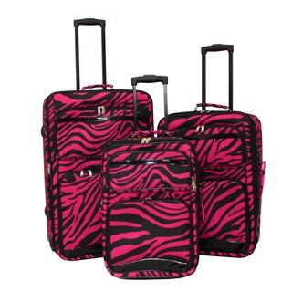 World Sport Black/ Pink Zebra 3-piece Expandable Upright Luggage Set