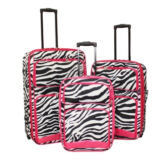 World Sport Pink Zebra Trim 3-piece Expandable Upright Luggage Set