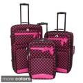 World Sport Big Ribbon Dots 3-piece Expandable Upright Luggage Set