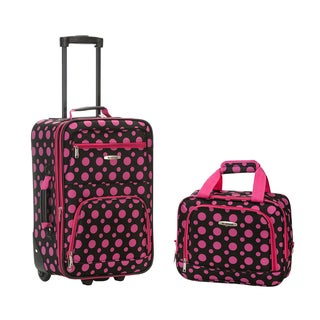Rockland Black Pink Dot 2-piece Lightweight Carry-on Luggage Set