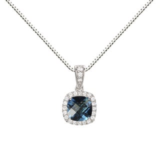 Sterling Silver Checkerboard Cushion Swiss Blue Topaz and Lab-created White Sapphire Halo Pendant