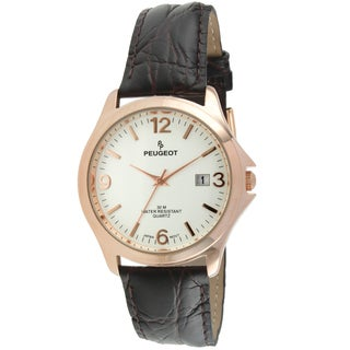 Peugeot Men's 2035RG Rose Goldtone Brown Leather Watch