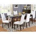Tilo White Faux Leather and Wengewood 7-piece Dining Set