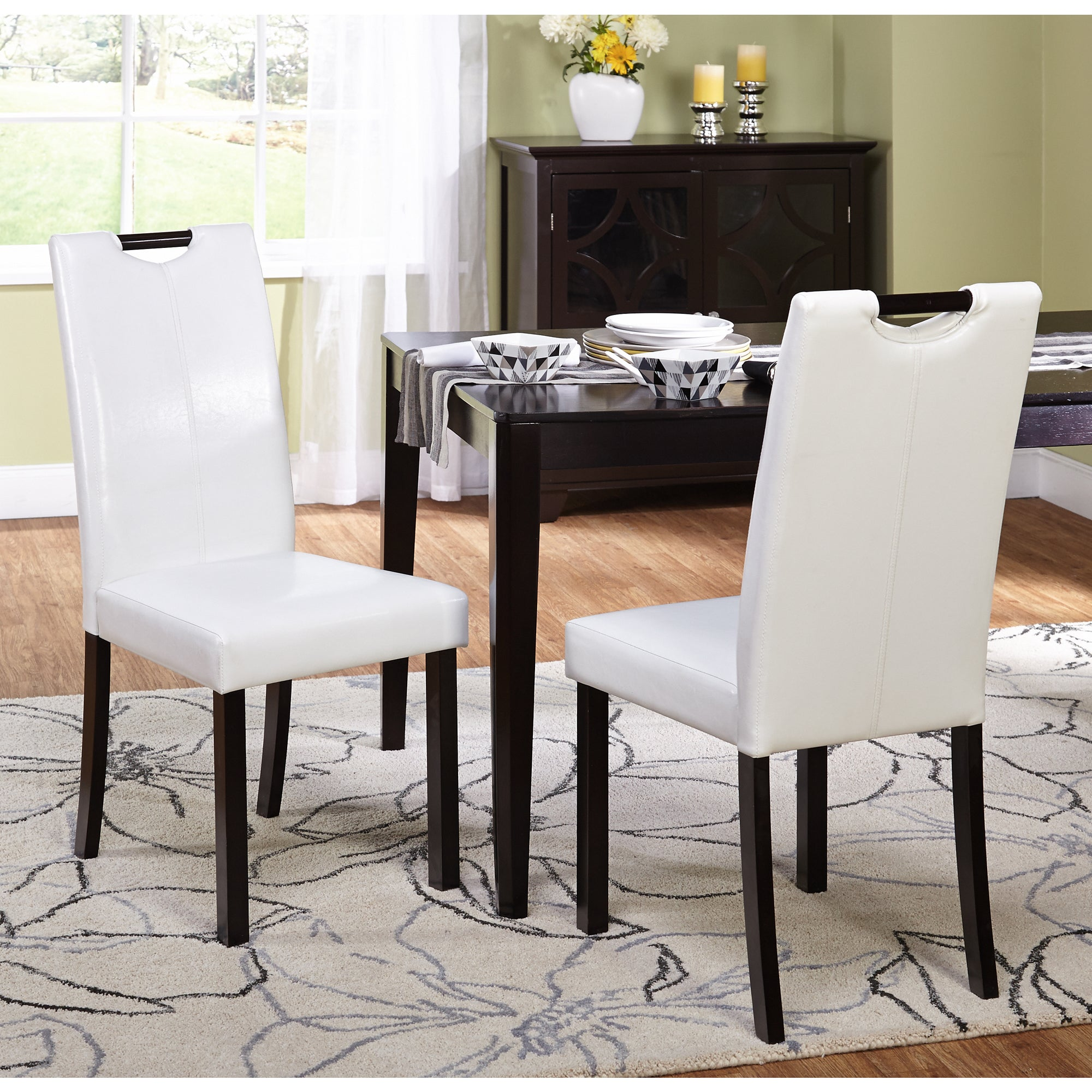 Simple Living Tilo White Leatherette Parson Dining Chairs (Set of 2) at Sears.com