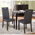 Tilo Grey Leatherette Parson Dining Chairs (Set of 2)