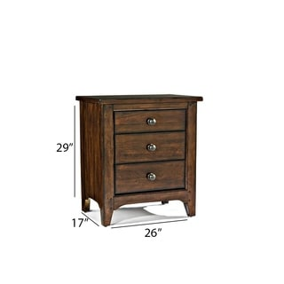 Intercon Jackson Solid Wood 3-drawer Nightstand