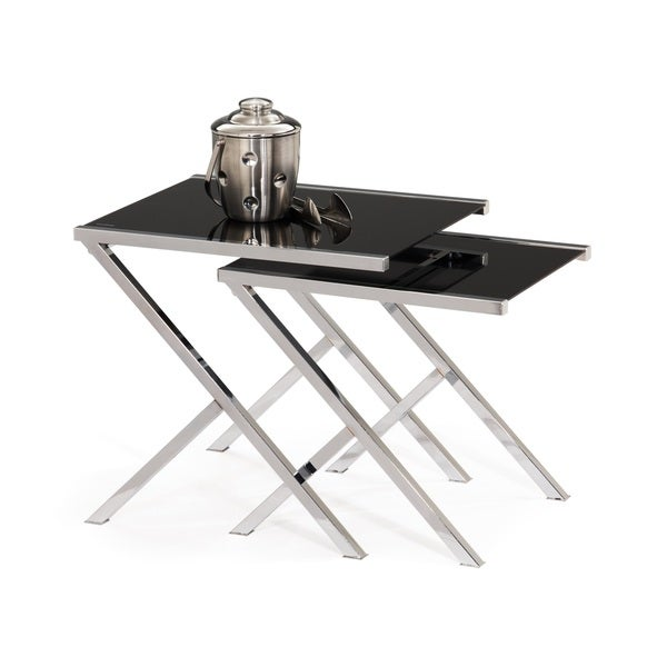 Black Glass and Chrome Nested 7s Table Set