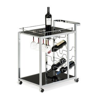 Black Glass and Chrome Wine Serving Cart with Stemware Rack