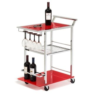 Red Glass and Chrome Wine Serving Cart with Stemware Rack