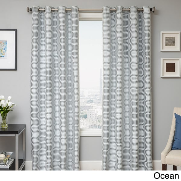 Payton Wave Woven Grommet Top Curtain Panel