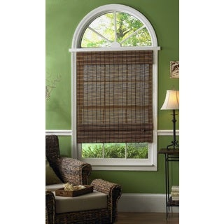 Maya Bamboo Roman Shades in Fruitwood Finish