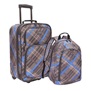 U.S. Traveler Plaid 2-piece Rolling Upright Carry-on and Backpack Luggage Set