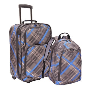 U.S. Traveler by Traveler's Choice Plaid 2-piece Upright Carry-on and Backpack Luggage Set