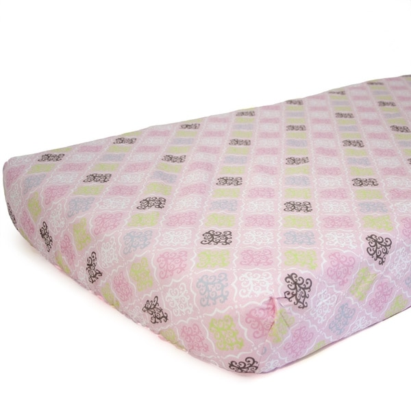 Nurture Imagination Girls' Multi Damask Fitted Sheet