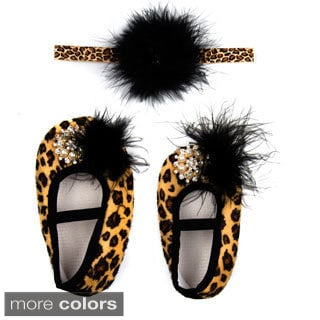 Girls' Leopard Headband and Shoes Gift Set
