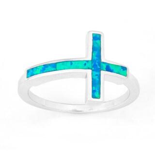 La Preciosa Sterling Silver Created Blue Opal Sideways Cross Ring