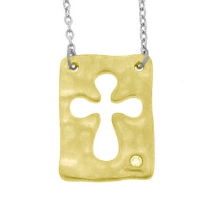 Gioelli Sterling Silver Diamond Accent Rounded Cross Necklace