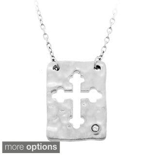 Gioelli Sterling Silver Diamond Accent Hammered Cross Necklace