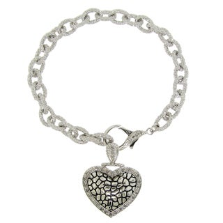 Gioelli Sterling Silver 1/3ct TDW Cable Chain Diamond Heart Bracelet (H-I, I2-I3)