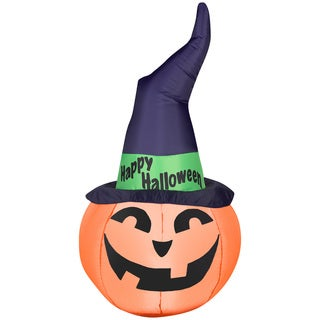 Outdoor Pumpkin with Witch Hat