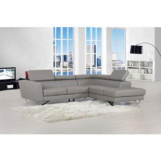 Delia Grey Bonded Leather Modern Sectional Sofa Set