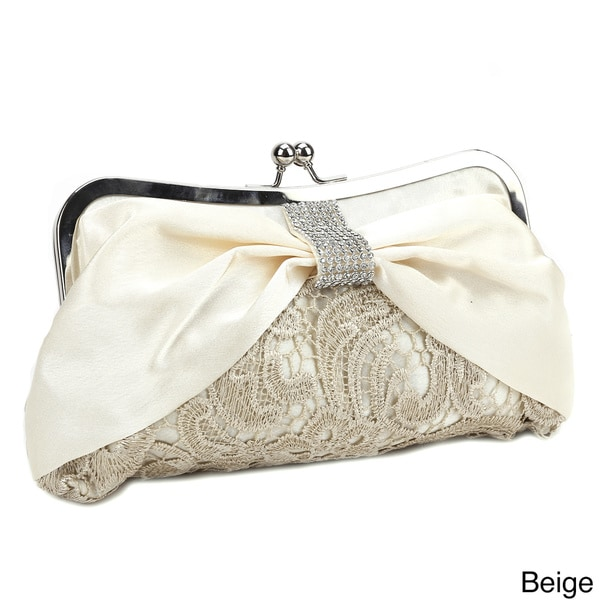 Diamante Satin Bow Lace Evening Bag