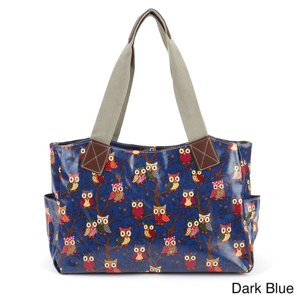 Owl-print Oilcloth Shoulder Bag