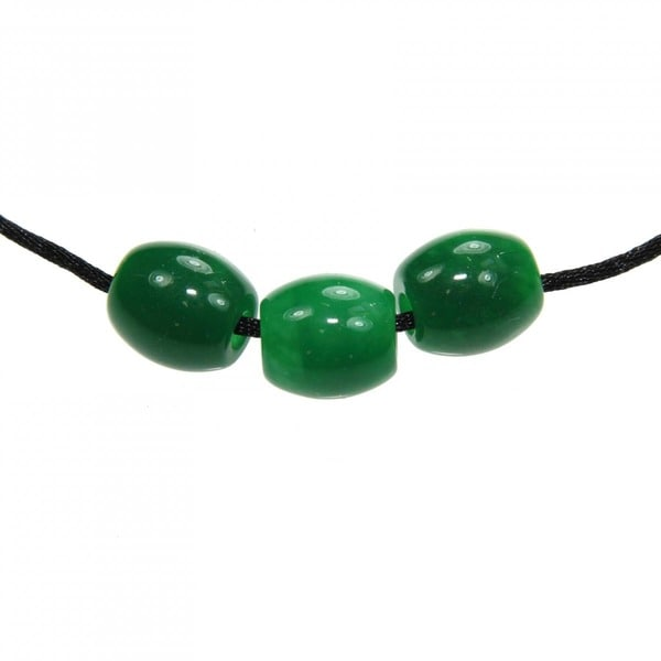 Triple Green Jade Beaded Black Cord Necklace (China)