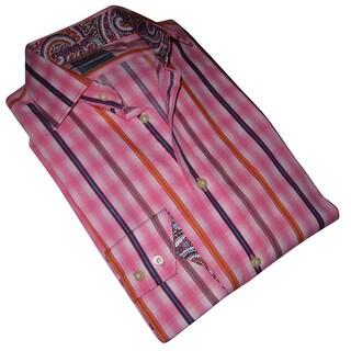 Thomas Dean Men's Pink Patterned Long-sleeve Dress Shirt