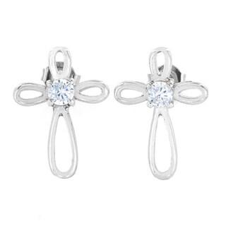 ELYA Stainless Steel Cubic Zirconia Ribbon Cross Stud Earrings