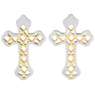 Goldplated Stainless Steel Vintage Cross Earrings