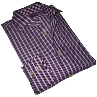 Thomas Dean Men's Purple Striped Long-sleeve Dress Shirt