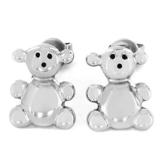Stainless Steel Teddy Bear Stud Earrings