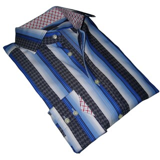 Thomas Dean Men's Blue Patterned Long-sleeve Dress Shirt