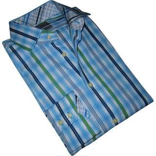 Thomas Dean Men's Blue Striped Long Sleeve Button-up Shirt