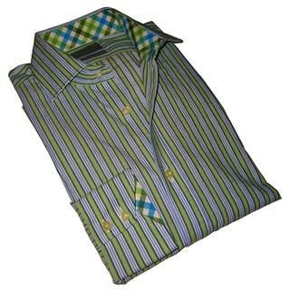 Thomas Dean Men's Light Green Striped Long-sleeve Dress Shirt