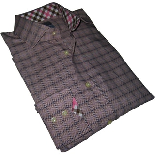 Thomas Dean Men's Beige Patterned Long-sleeve Dress Shirt
