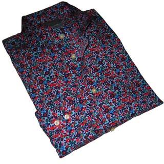 Thomas Dean Men's Floral Pattern Long-sleeve Shirt