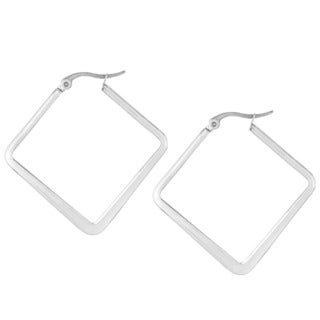 Stainless Steel 40mm Flat Square Hoop Earrings