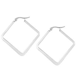 Stainless Steel 40mm Flat Square Hoop Earrings