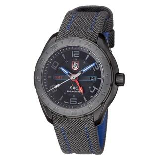 Luminox Men's A.5121.GN 'SXC' Black Dial Grey Fabric Strap GMT Quartz Watch