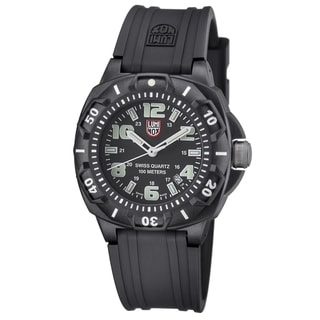 Luminox Men's A.0201.SL 'Sentry' Black/White Dial Black Rubber Strap Time Date Quartz Watch